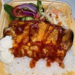 Beef Burritos with Rice & Salad Garnish